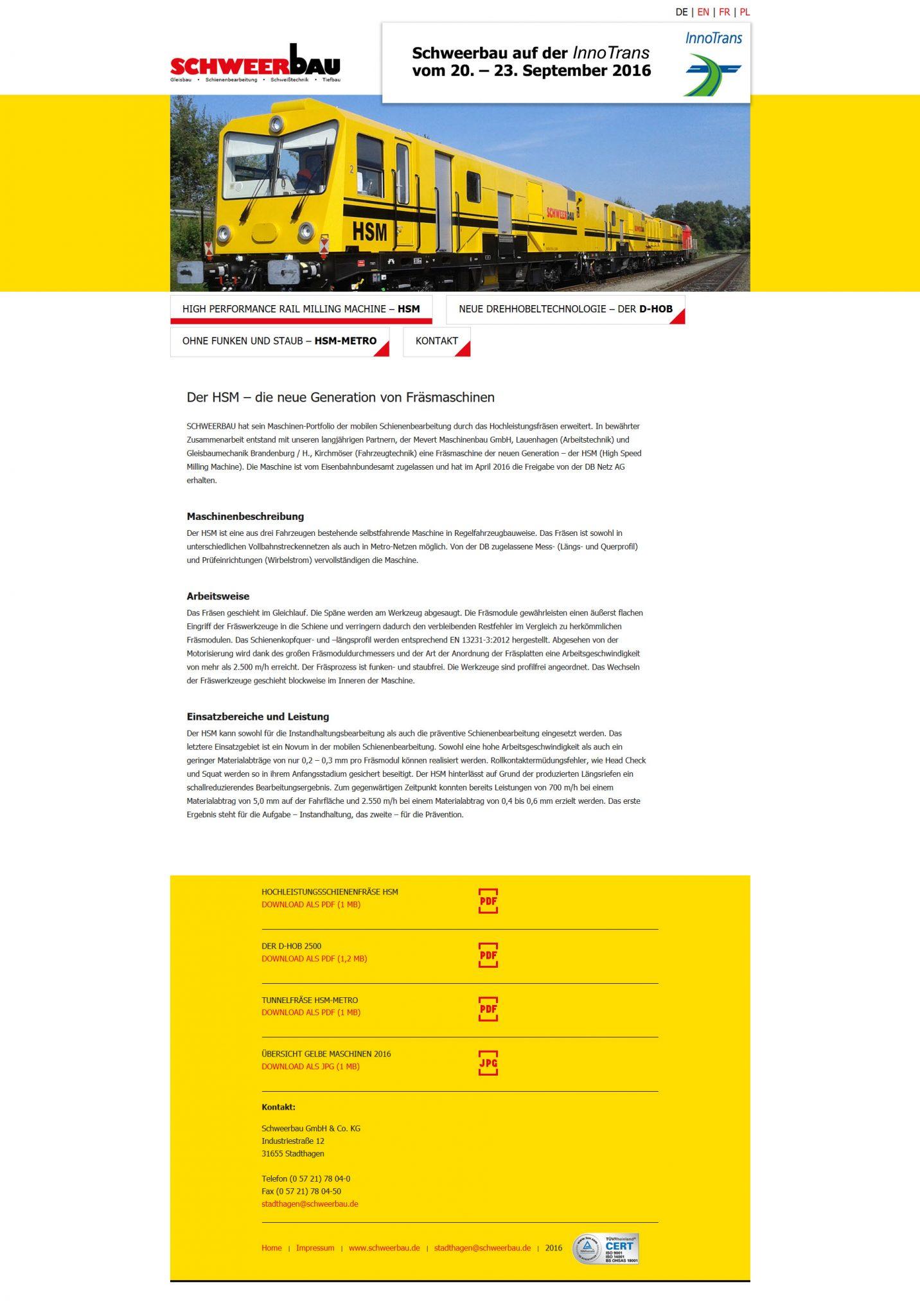 schoenundneu - schweerbau Website zur InnoTrans 2016